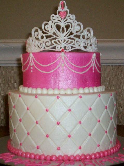 Pink Princess Birthday Cake 2 Tier
