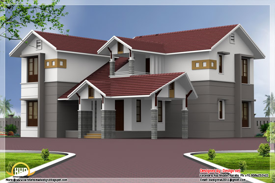2585 square feet, 4 bedroom sloping roof home design