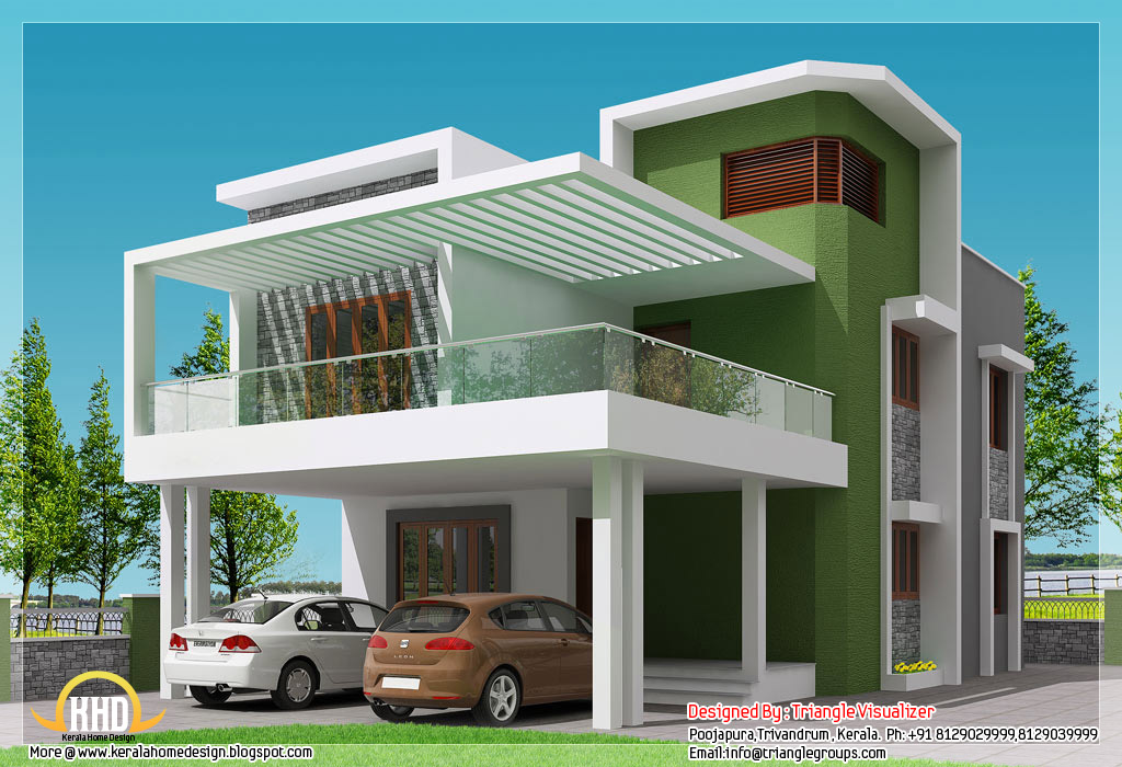 Beautiful modern simple indian house design 2168 for Home outer colour design