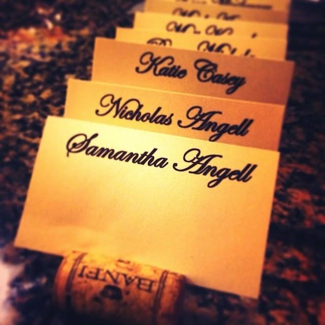 DIY wine cork place cards