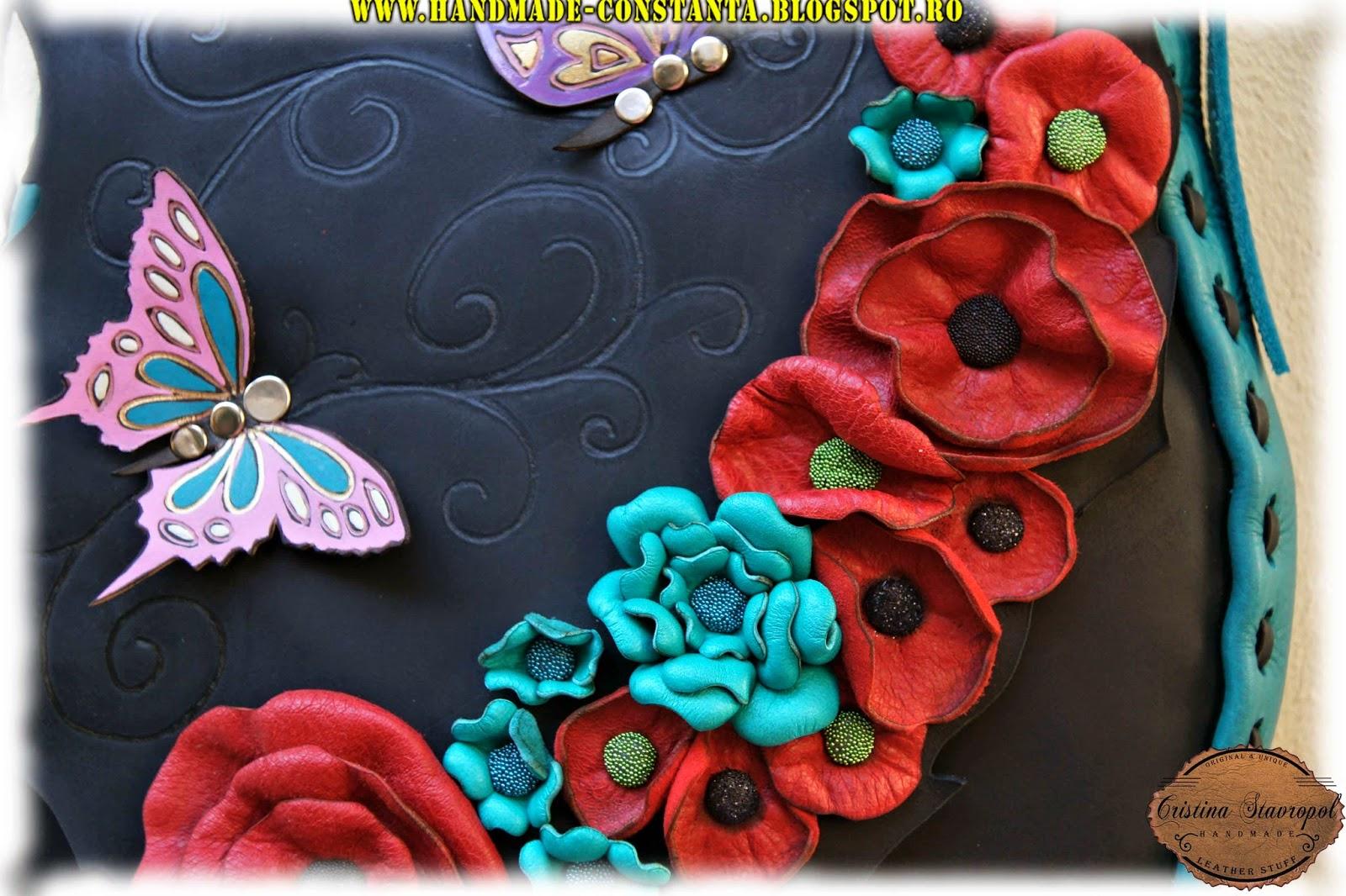 flori si fluturi din piele