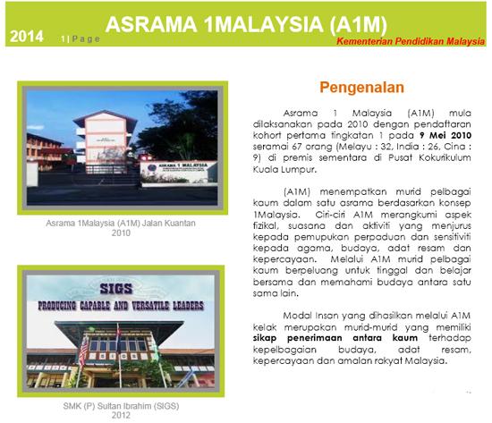 Permohonan Asrama 1Malaysia (A1M) KPM 2015