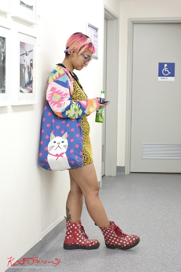 Animal print, tribal weave pattern jacket, animal print dress, polkadots on cat bag and Dr Maten Boots. patterns and kitty bag at the #NASgraduates show