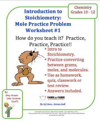 Classroom Freebies Chemistry MoleStoichiometry Practice Problem