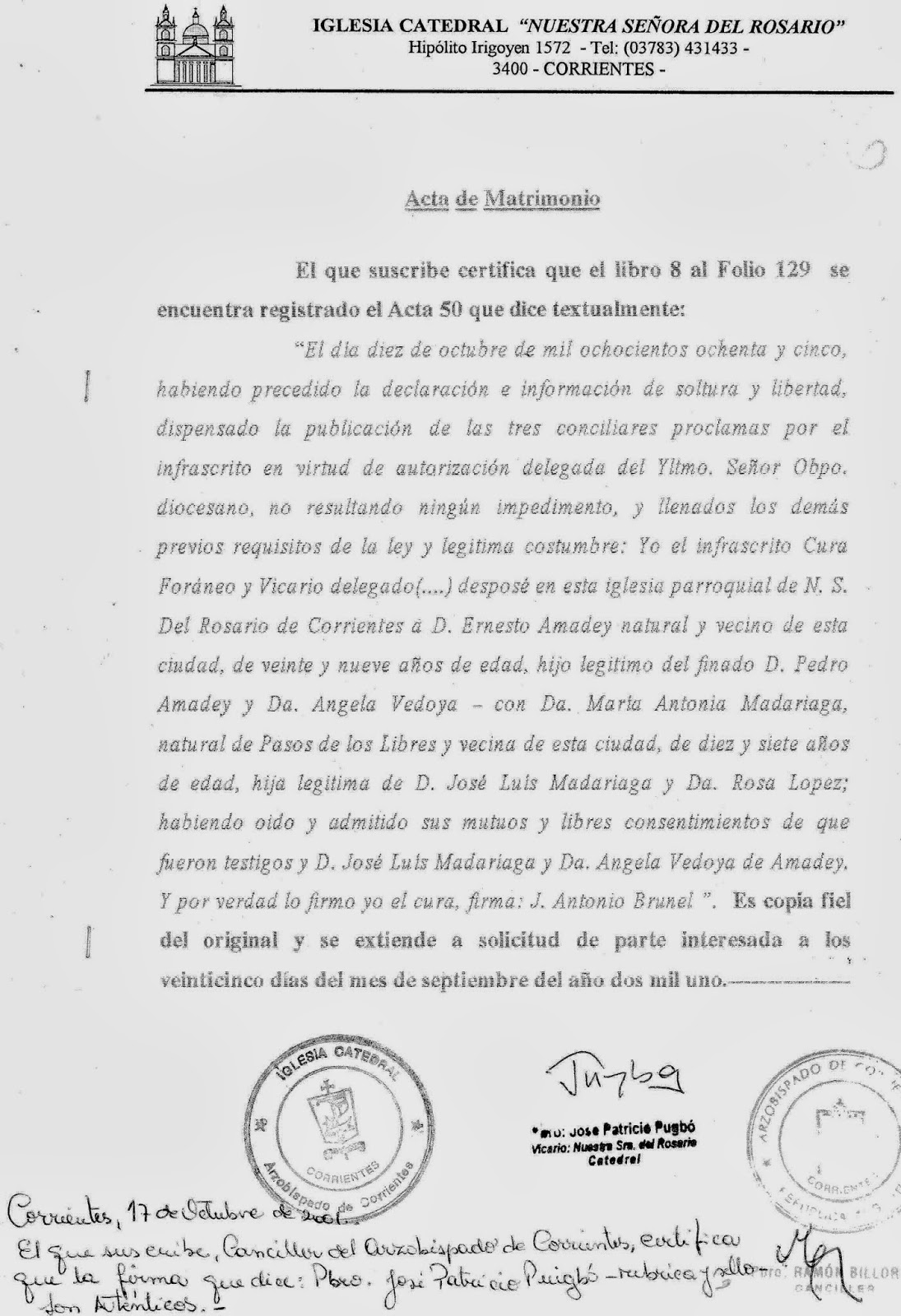 Gobernador don jose luis madariaga octubre 2013 for Acta familiar