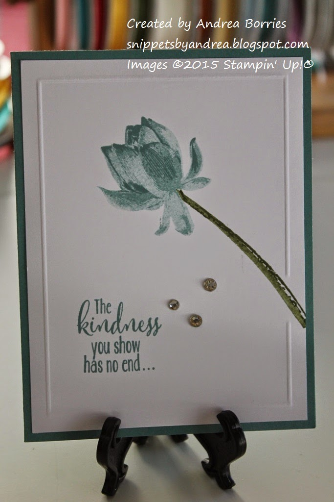 Clean and simple card made with a Lost Lagoon card base, Lotus Blossom stamp set and Simply Scored tool.