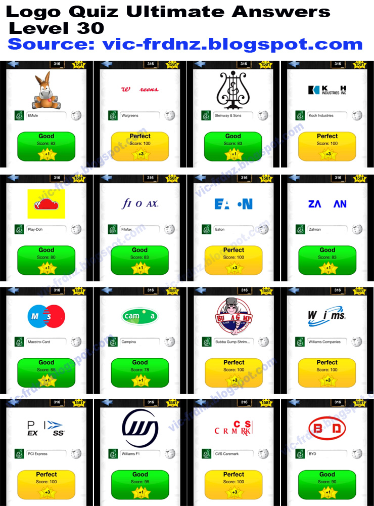 Logo Quiz Ultimate Level 30 answers.