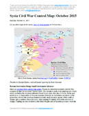 Map of fighting and territorial control in Syria's Civil War (Free Syrian Army rebels, Kurdish YPG, Al-Nusra Front, Islamic State (ISIS/ISIL), and others), updated for late October 2015. Highlights recent locations of conflict and territorial control changes, such as Kweires airbase, Kafr Nabudah, Aleppo area, Hama province towns, and more.