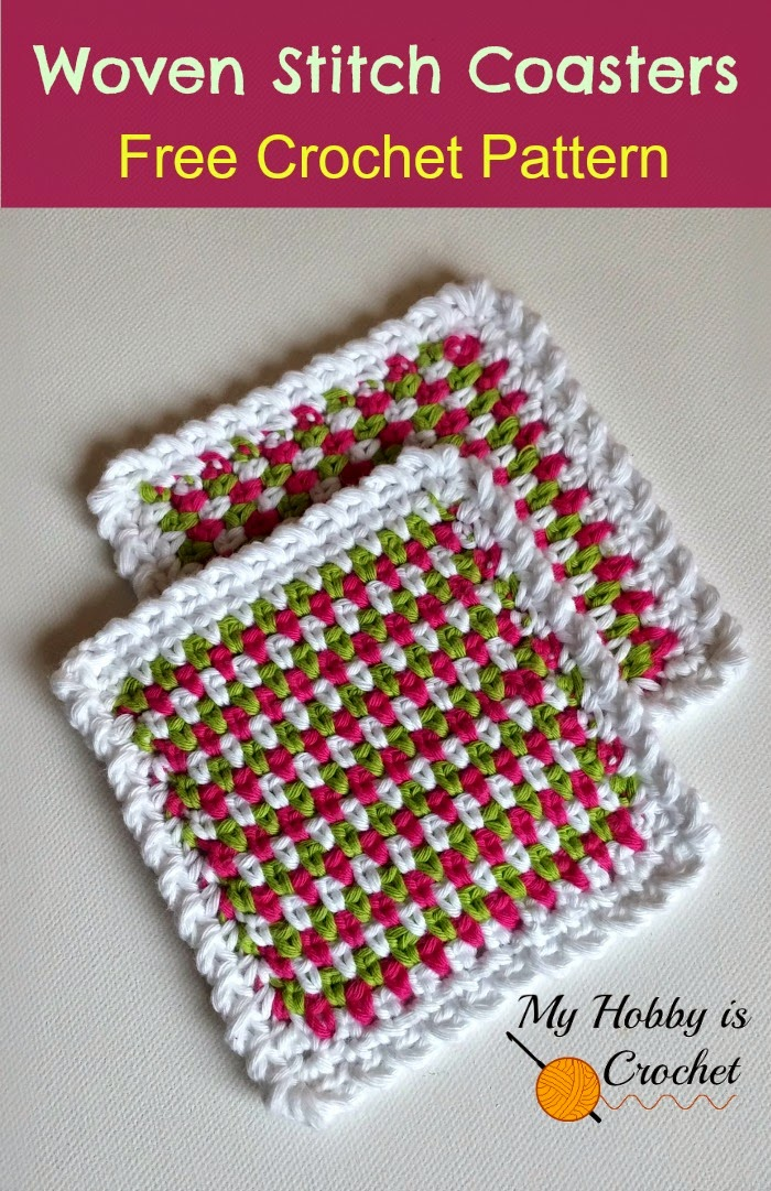 Free Crochet Patterns With Tutorials : My Hobby Is Crochet: Woven Stitch Coasters Free Crochet ...