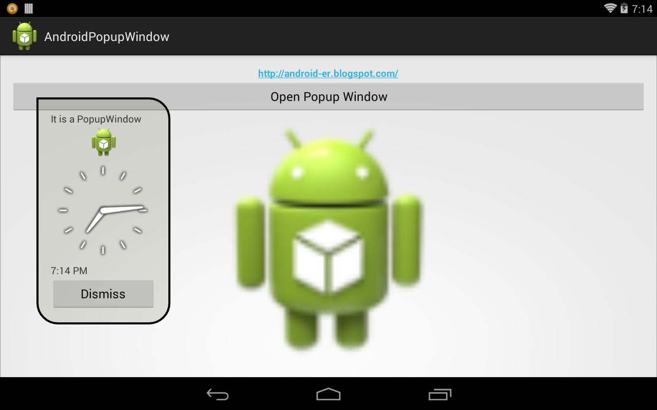 PopupWindow with AnalogClock and DigitalClock