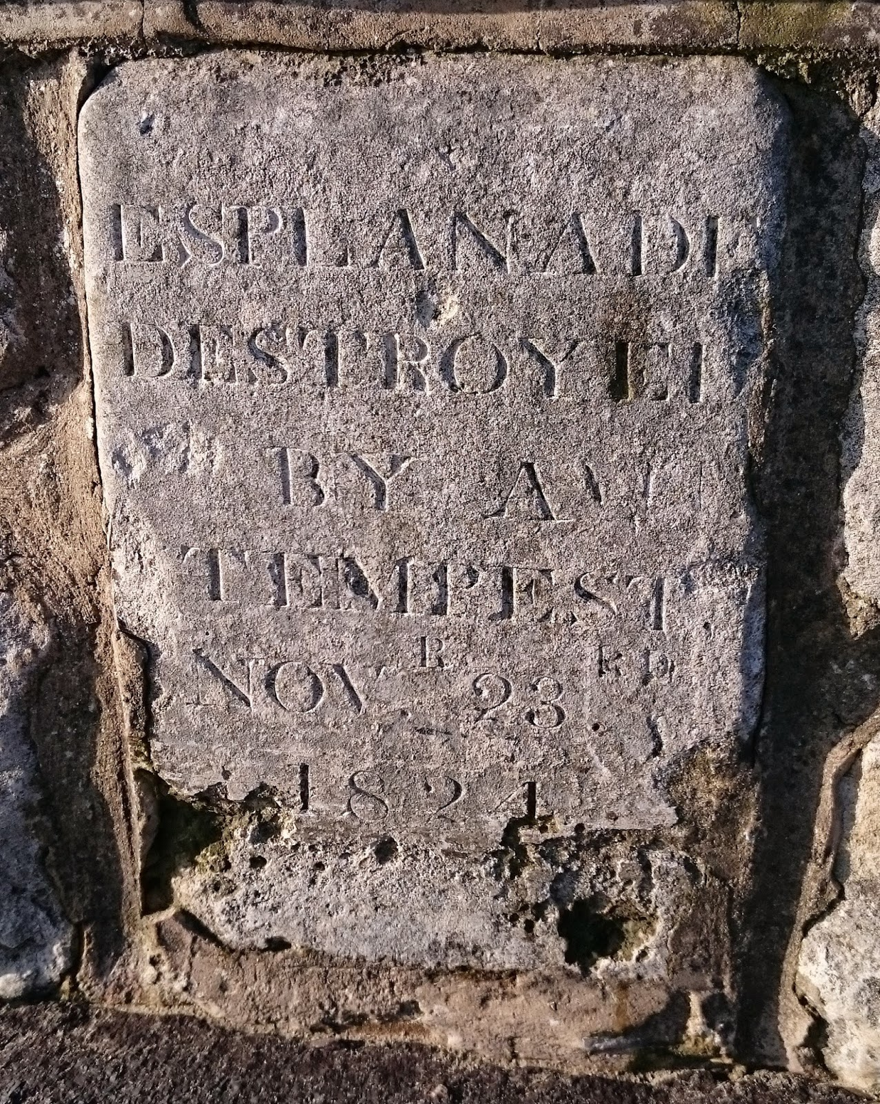 Stone commemorating the Great Gale of 1824  on Weymouth seafront