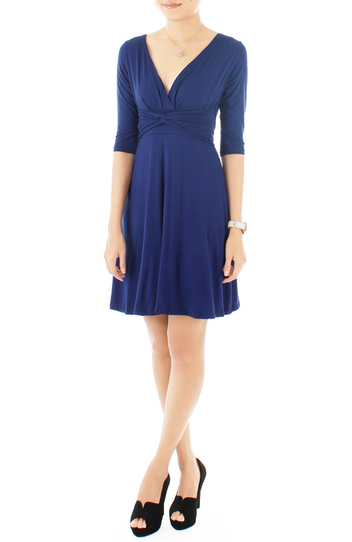 """Royal Engagement"" Dress with ¾-Length Sleeves – Monaco Blue"