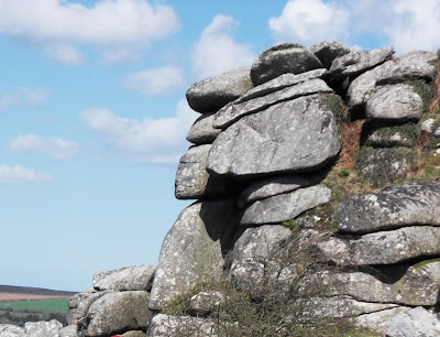 Faces imagined on the granite boulders on Helman Tor£ border=