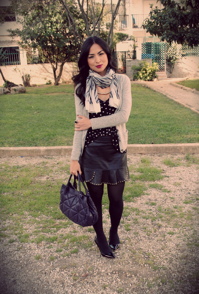 REBEL LIPSTICK MAC, LEATHER SKIRT, SPIKES, POLKA DOT, FURLA BAG, ZARA SKIRT, ANIMAL PRINT, STREETSTYLE, FASHION BLOGER