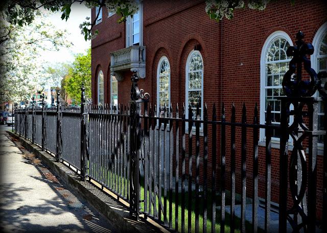 US post office, shadow, fence, iron, salem, massachusetts