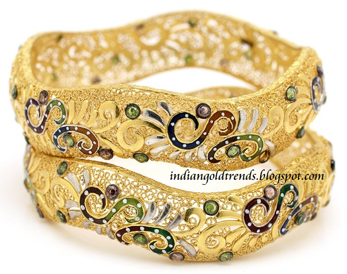 Check out beautiful fancy enamel broad gold bangles from grt jewellers