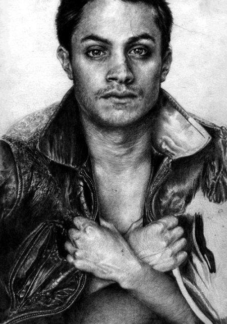T.S. Abe desenhos a lápis hiper realistas retratos famosos Gael García Bernal