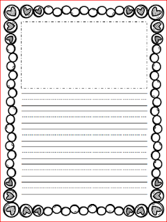 Red and blue lined handwriting paper