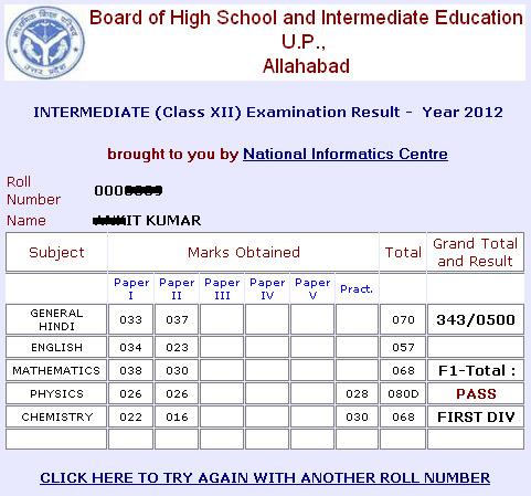 up board inter 2012 result marks sheet