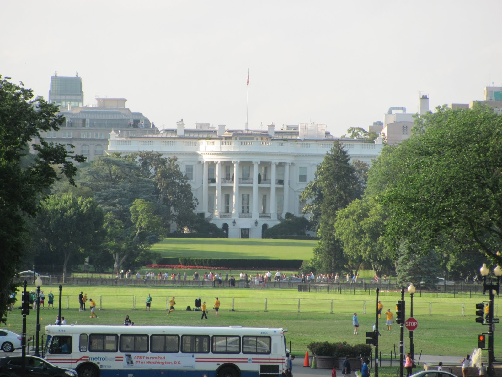 The White House is seen in the far distance from the rear