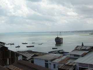 ships on the water in Stonetown Zanzibar