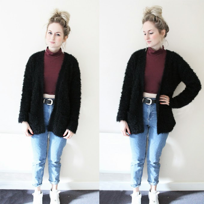 how to wear crop top fluffy cardigan topshop mom jeans nike air force white trainers