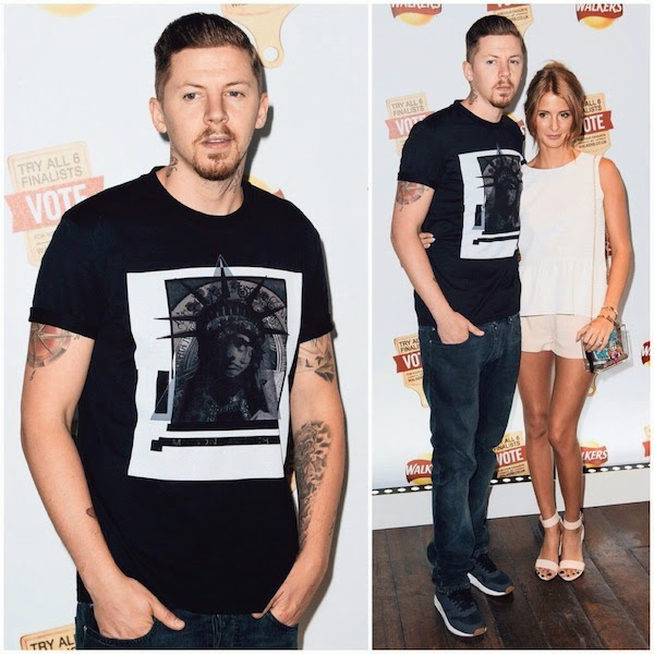 Professor Green in Givenchy Statue Of Liberty print t-shirt at Walkers Do Us A Flavour launch party at Paramount Centre Point July 2014
