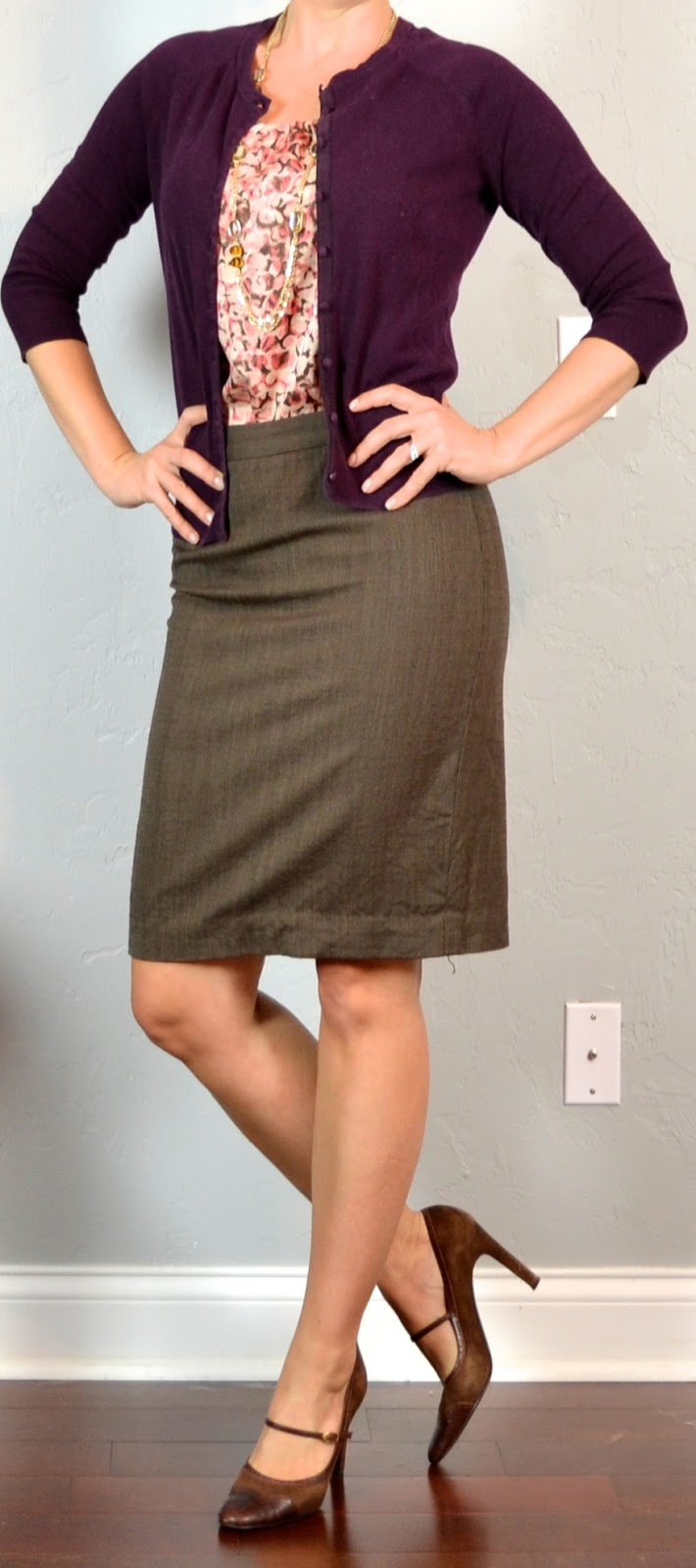 Outfit Posts outfit post burgundy cardigan pink pattern blouse brown pencil skirt mary jane ...