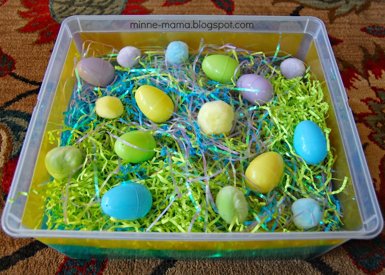minne mama peek a boo eggs sensory bin