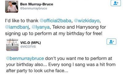 See Why Vic O Should Perform At Sen Ben Murray Bruce's Birthday (Screenshot)
