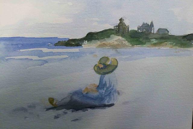 acuarela de marina dibujando en la playa