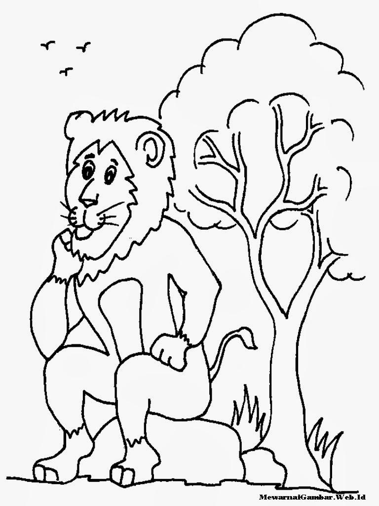 gambar singa untuk mewarnai
