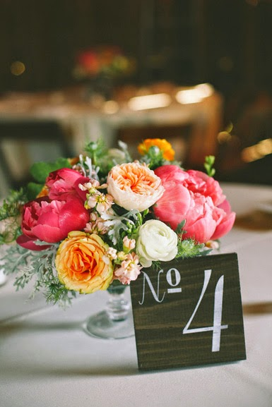 pink and peach peony centerpiece