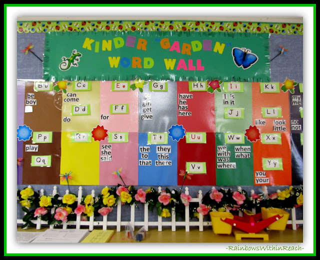 Kindergarten Word Wall from Word Wall RoundUP at RainbowsWithinReach