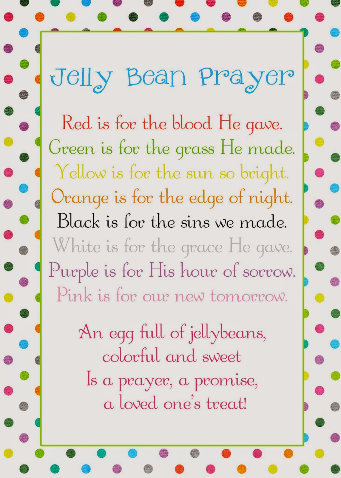 picture about Jelly Bean Prayer Printable named A Pocket complete of LDS prints: Jelly Bean Prayer poem - Easter