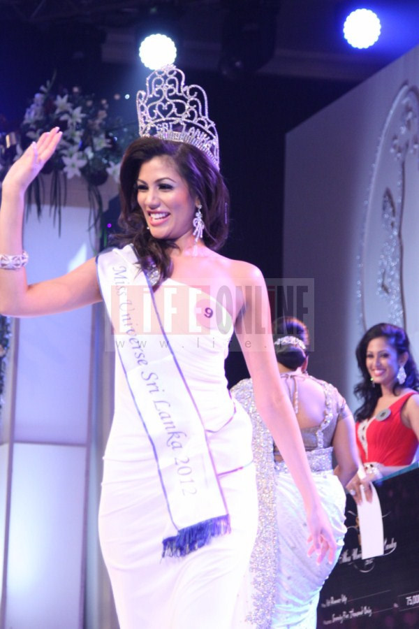 New Miss Universe Sri Lanka 2012 Sabrina Herft waves to the crowd after crowning