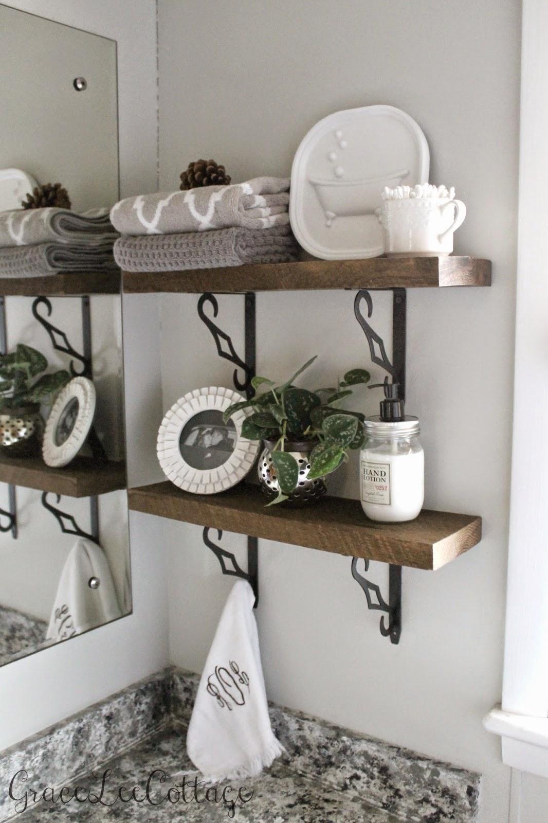 Grace Lee Cottage DIY Rustic Bathroom Shelves - White bathroom shelf with hooks for bathroom decor ideas