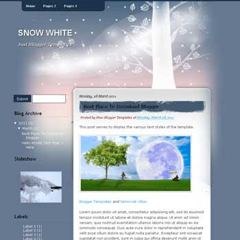 Snow White blogger template. template blog from wordpress