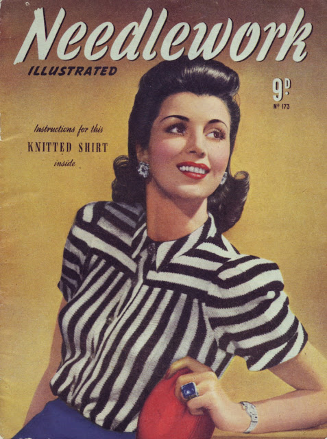 The Butterfly Balcony 1943 Needlework Illustrated Zebra Striped Shirt Free Knitting Pattern
