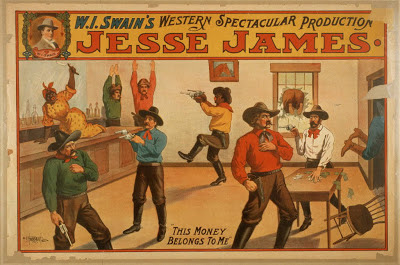 free printable, printable, vintage, vintage posters, graphic design, free download, classic posters, retro prints, western, movies, theater, Jesse James, WI Swain's Western Spectacular Production - Vintage Western Cowboy Theater Poster