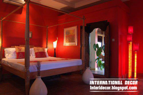 romantic red color degrees in bedroom paints and decorations - Red Home Decor Accessories