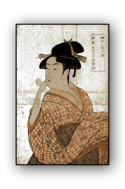 Utamaro - Woman Blowing a Vidro