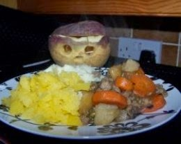 mince, potatoes and turnip plus turnip lantern