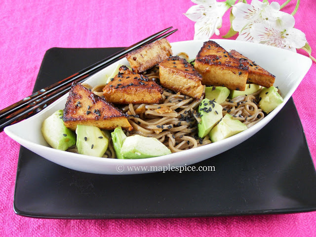 Spicy Ginger Tofu, Soba Noodle and Avocado Salad