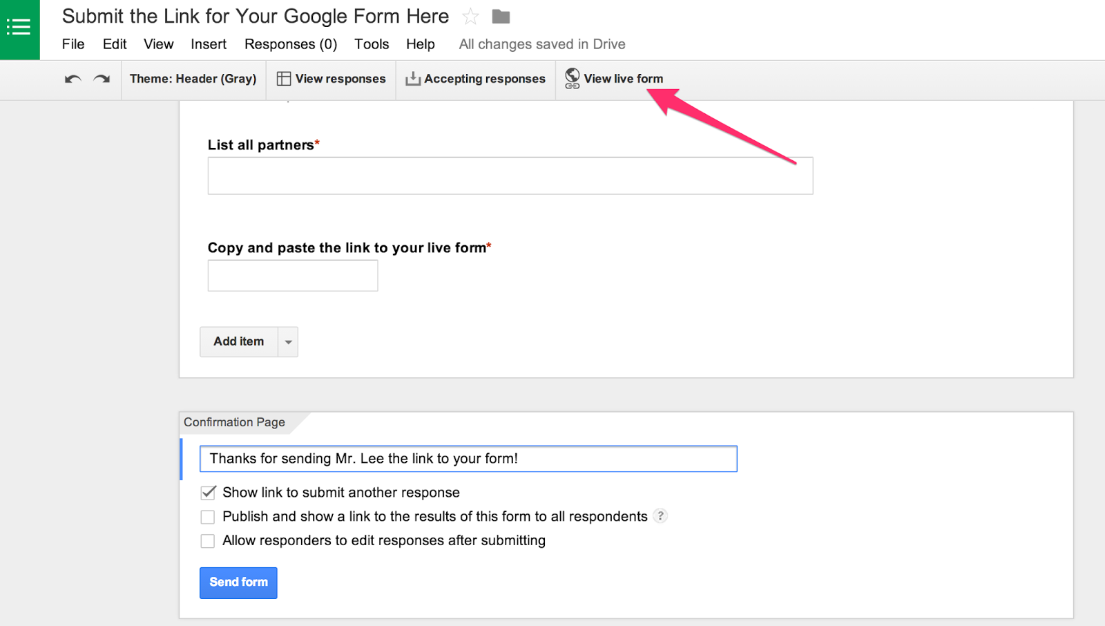 how to send a google form as a link