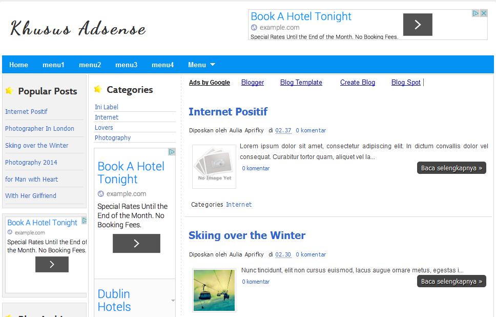Template Blog Google Adsense Fast Loading