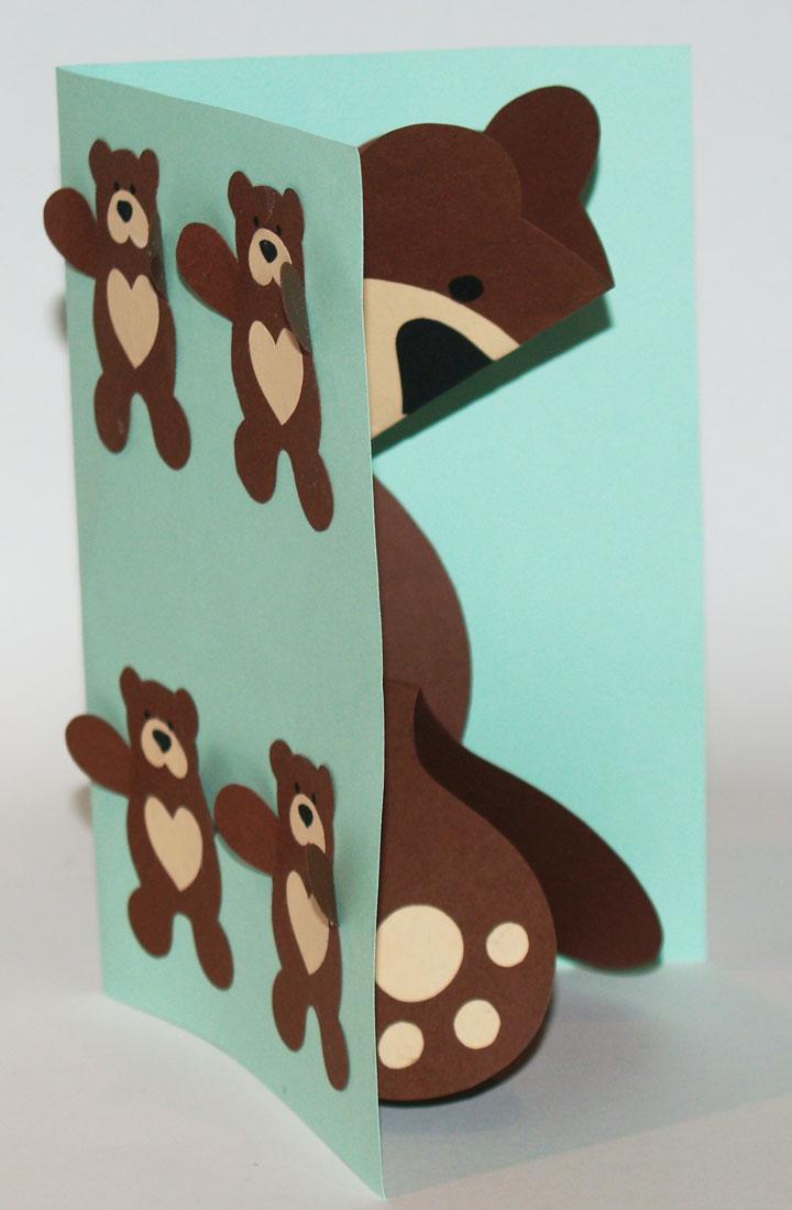 tarjeta pop up osito teddy detalle