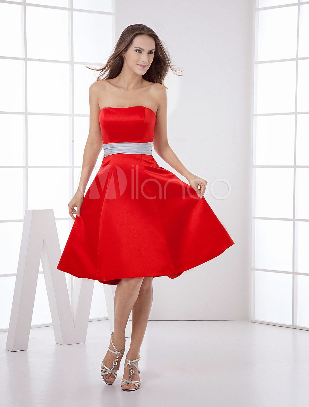 Attractive Strapless Sash Satin Bridesmaid Dress