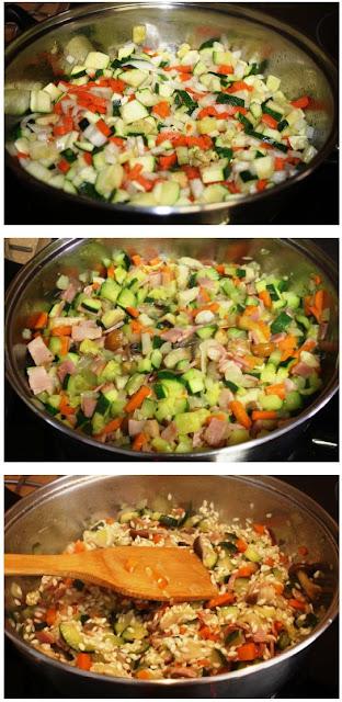 Risotto de Bacon Setas y Verduras Alocados en la Cocina