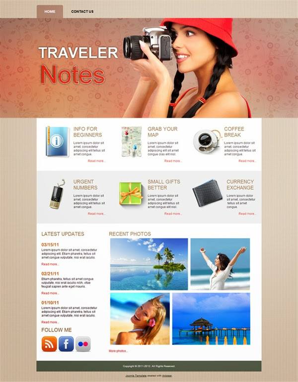 Traveler Notes - Free Joomla! Templates